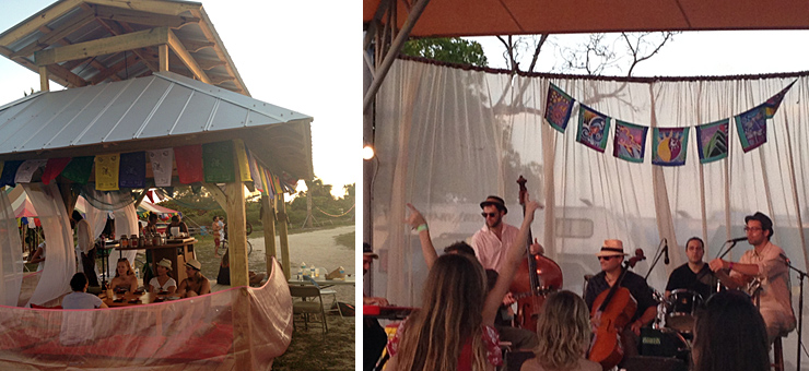 LEFT: Tea Ceremony Tent at the Zen Village Station. RIGHT: The French Horn.
