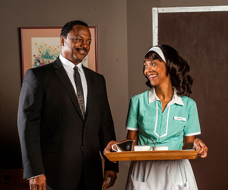 C. Anthony Jackson and Karen Stephens in THE MOUNTAINTOP by Katori Hall directed by Joseph Adler at GabeStage March 15 thru April 13 photo: George Schiavone