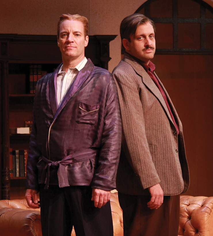 Tom Wahl as F. Scott Fitzgerald and Gregg Weiner as Ernest Hemingway in the Florida premiere of Scott and Hem at Actors' Playhouse at the Miracle Theatre