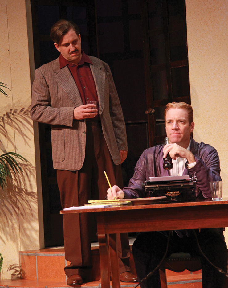 Gregg Weiner as Ernest Hemingway and Tom Wahl as F. Scott Fitzgerald in the Florida premiere of Scott and Hem at Actors' Playhouse at the Miracle Theatre