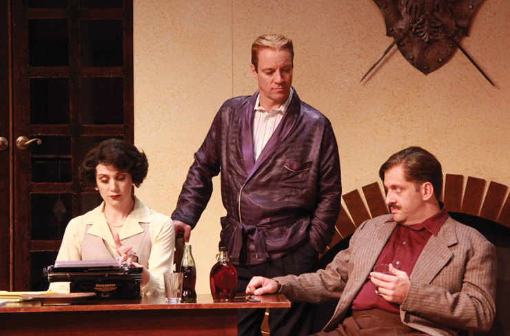 Jennifer Christa Palmer (Miss Eve Montaigne), Tom Wahl (F. Scott Fitzgerald) and Gregg Weiner (Ernest Hemingway) in the Florida premiere of Scott and Hem at Actors' Playhouse at the Miracle Theatre