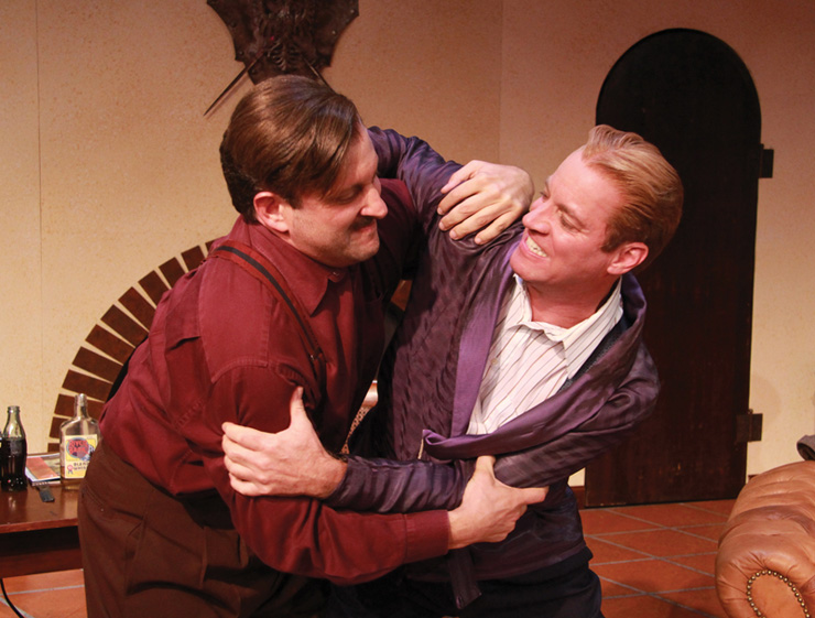Ernest Hemingway (Gregg Weiner) and F. Scott Fitzgerald (Tom Wahl) wrestle with the sparks of art and the perils of creativity in the Florida premiere of Scott and Hem at Actors' Playhouse at the Miracle Theatre