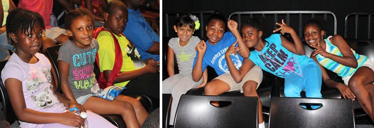 LEFT: The kids are ready for showtime. RIGHT: Excited to be at the Arsht Center.