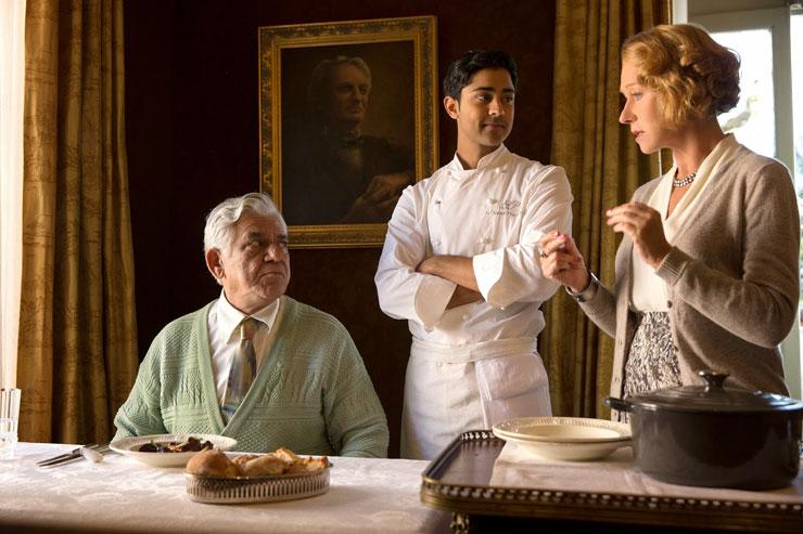 From Left: Om Puri, Manish Dayal, Helen Mirren