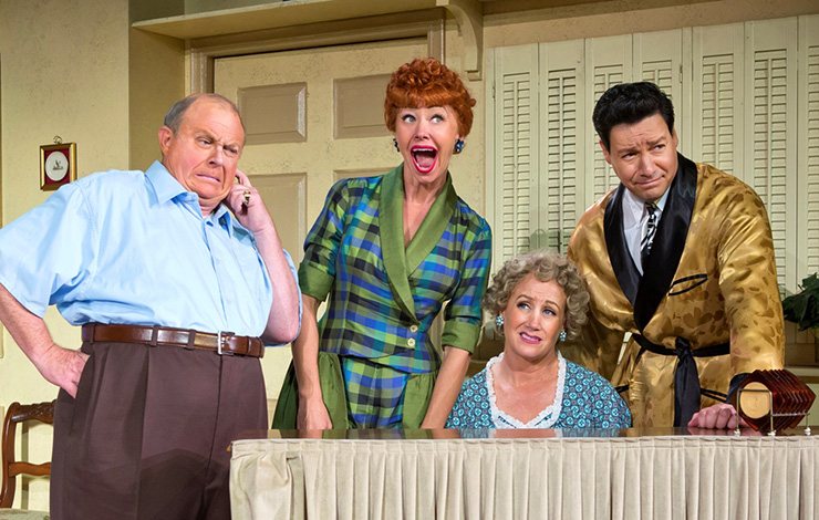 Kevin Remington (Fred), Sirena Irwin (Lucy), Joanna Daniels (Ethel) and Bill Mendieta (Ricky) from the 13-14 national tour of LUCY LIVE .