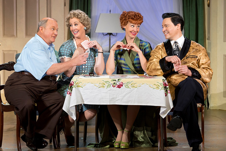 Kevin Remington (Fred), Joanna Daniels (Ethel), Sirena Irwin (Lucy), and Bill Mendieta (Ricky) from the 13-14 national tour of LUCY LIVE.