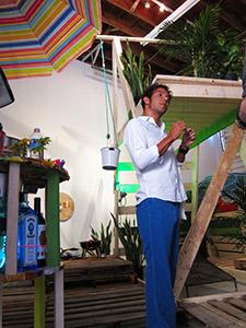 Simon Vega in his  installation
