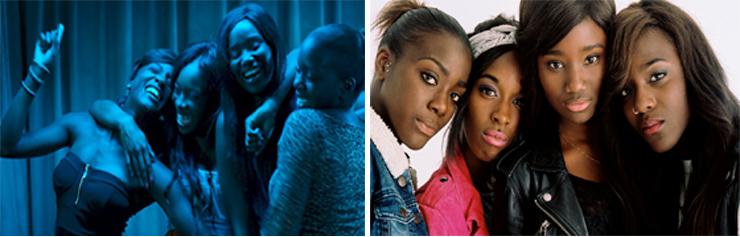 LEFT:  (from left): Assa Sylla, Lindsay Karamoh, Karidja Touré, Mariétou Touré. RIGHT: (from left ): Mariétou Touré, Lindsay Karamoh, Karidja Touré, Assa Sylla.