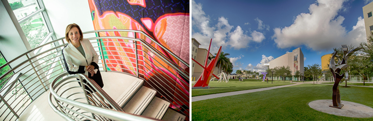 Photos provided by FIU Frost.<br/>LEFT: Director Dr Jordana Pomeroy at the Frost Art Museum, RIGHT: Patricia and Phillip Frost Art Museum t FIU.
