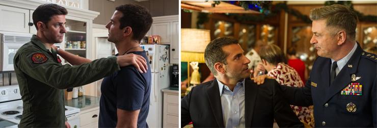 LEFT: (from left): John Krasinski, Bradley Cooper, RIGHT: (from left): Bradley Cooper, Alec Baldwin.