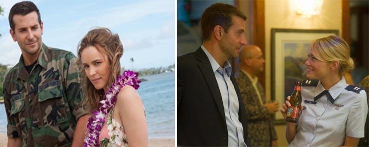 LEFT: (from left): Bradley Cooper, Rachel McAdams, RIGHT: (from left): Bradley Cooper, Emma Stone.