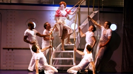 Mychal Phillips as Erma and Ensemble in ANYTHING GOES.