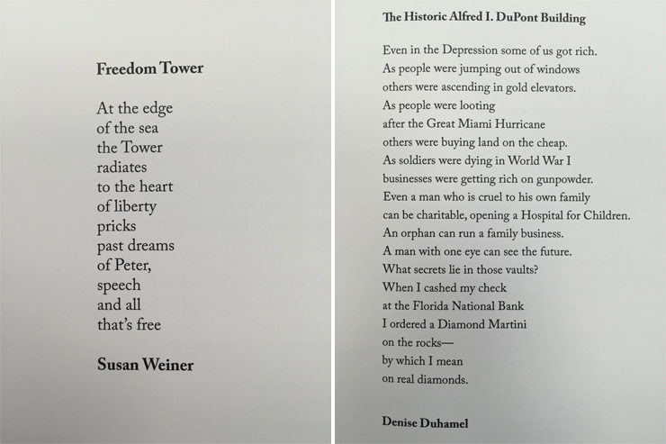 LEFT: Freedom Tower by Susan Weiner. RIGHT: The Historic Alfred I Dupont Building by Denise Duhamel.