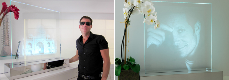 LEFT: Artist David New with his Laser Edged Glass Sculpture