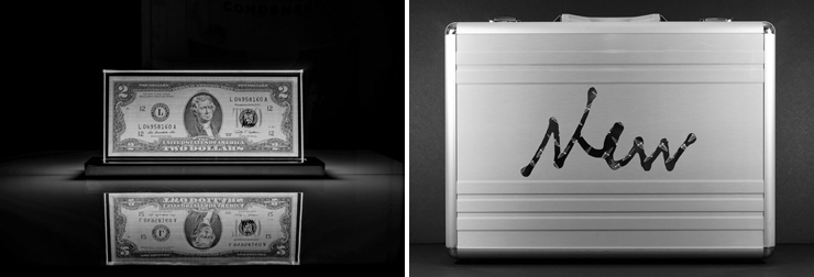 LEFT: USD 2.00 Bill, Laser Edged Glass Sculpture (Photo by Carlos Zevallos). RIGHT: Metal briefcase (with artist's logo) containing original artist signed USD 2.00 bill with Laser Sculpture. (Photo by Carlos Zevallos).