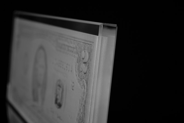 Close up of Laser Sculpture of USD 2.00 bill. <br>(Photo by Carlos Zevallos).
