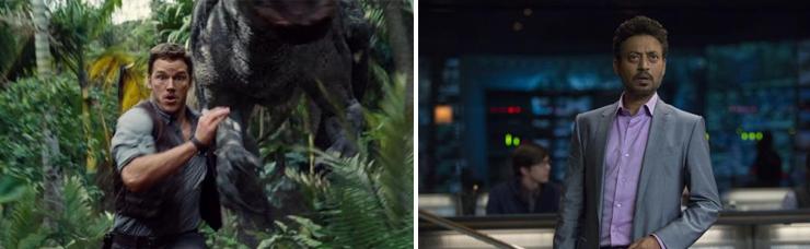 LEFT: Chris Pratt, RIGHT: Irrfan Khan.