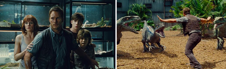 LEFT: (from left): Bryce Dallas Howard, Chris Pratt, Nick Robinson, Ty Simpkins, RIGHT: Chris Pratt.