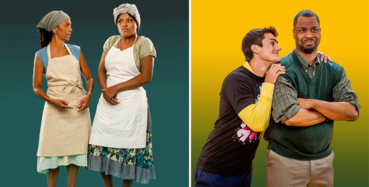 LEFT: Karen Stephens and Chasity Hart in City Theatre's 2015 Summer Shorts production of Risen From the Dough by France-Luce Benson. Photo by George Schiavone. RIGHT:  Michael Uribe and Bechir Sylvain in City Theatre's 2015 Summer Shorts production of Mandate by Kelly Younger. Photo by George Schiavone.