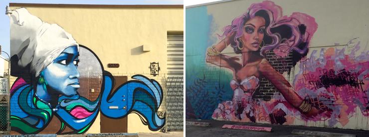LEFT: Trek6's Mural. RIGHT: Didi Contreras' Mural<br> Courtesy of @miamiartcollective