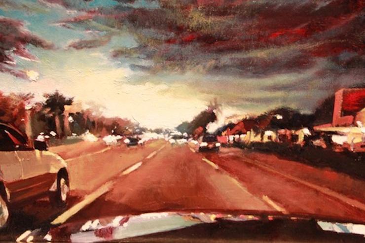 Artist: John Sanchez.<br>Title: Cruising Down Flagler Evening, 2012.