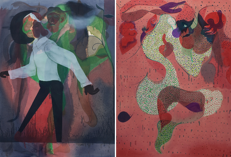 All photos provided by Lowenstein Gallery.<br> Oil on canvas paintings by Daniel Domig.<br> LEFT: Moon, 2011. RIGHT: Principal, 2011.