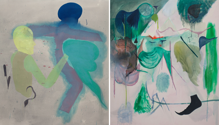 All photos provided by Lowenstein Gallery.<br> Oil on canvas paintings by Daniel Domig.<br> LEFT: Whole Holes, 2013. RIGHT: Chaosomos, 2012.