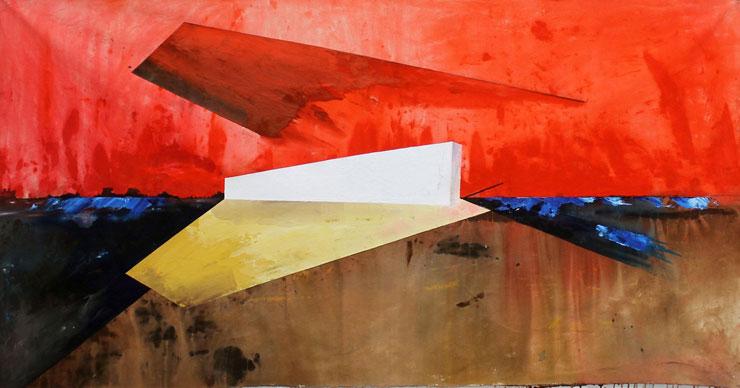 Leonardo Bacan, White Wall, acrylic on canvas.