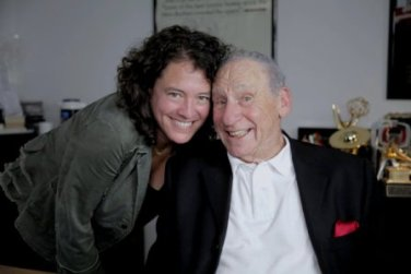 Ferne Pearlstein and Mel Brooks during shooting of