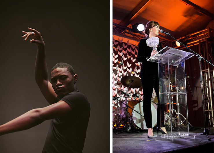 LEFT: Darius Hickman Photo by GESI SCHILLING. RIGHT: Jessica Lang Gala.<br>Photo by Jason Koerner.