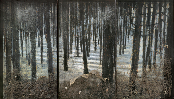 Anselm Kiefer<br>  Winterwald, 2010 <br> Oil, emulsion, acrylic, shellac, ash, thorn bushes, synthetic teeth, and  snakeskin on canvas in glass and steel frames<br>  130.5 x 227 x 14 inches (332 x 576 x 35cm)<br>  Hall Collection<br>  Courtesy Hall Art Foundation<br>  Photography: Charles Duprat