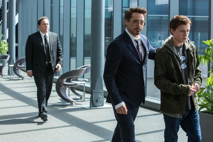 Jon Favreau, Robert Downey Jr., Tom Holland.
