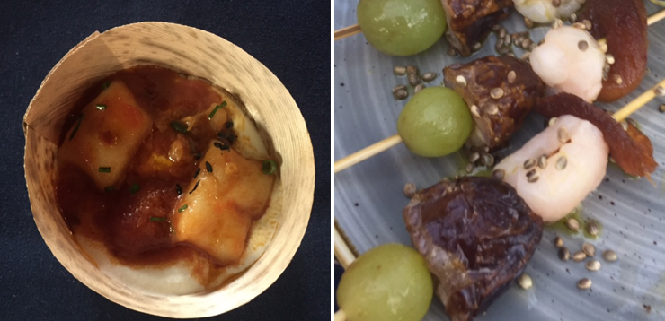 LEFT: Gnocchi on fire, RIGHT: Kabobs.