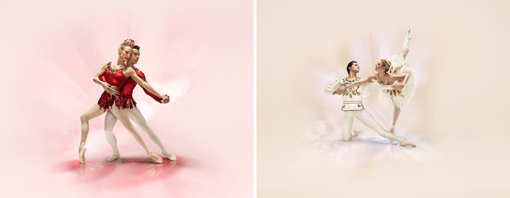 Photo (LEFT):Jewels Rubies<br/> Tricia Albertson and Renato Penteado, Choreography by George Balanchine, Photo by Alberto Oviedo. (RIGHT): Jewels Diamonds<br/> Lauren Fadeley and Jovani Furlan, Choreography by George Balanchine, Photo by Alberto Oviedo.