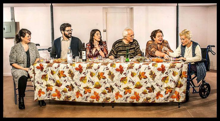 Meredith Bartmon, Alex Alvarez, Diana Garle, Michael Gioia, Elizabeth Dimon, and Carol Caselle in GableStage's