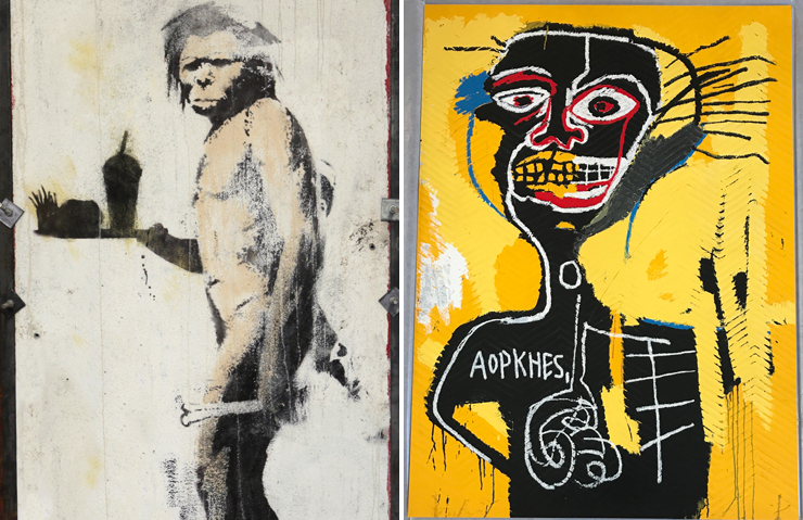 LEFT: Banksy. RIGHT: Basquiat.<br>Photo provided by the Sagamore.