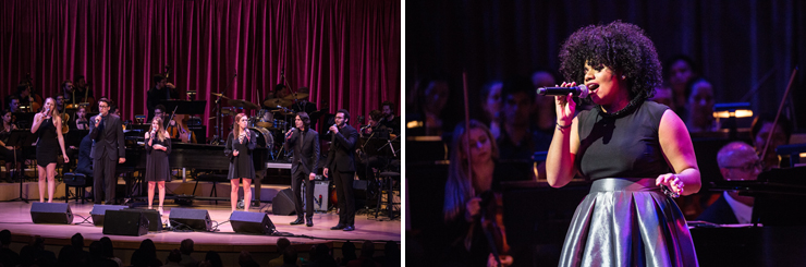 LEFT: The Frost School of Music&#39;s Vocal Sextet and Henry Mancini Institute Orchestra. RIGHT: We McDonald performances. <br>Photo credited to Daniel Azoulay.