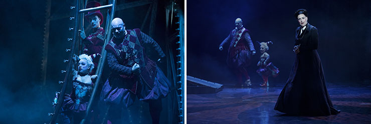 """LEFT: Katrina Kemp (""""Fleck""""), Stephen Petrovich (""""Gangle"""") and Richard Koons (""""Squelch""""), star in Love Never Dies. 