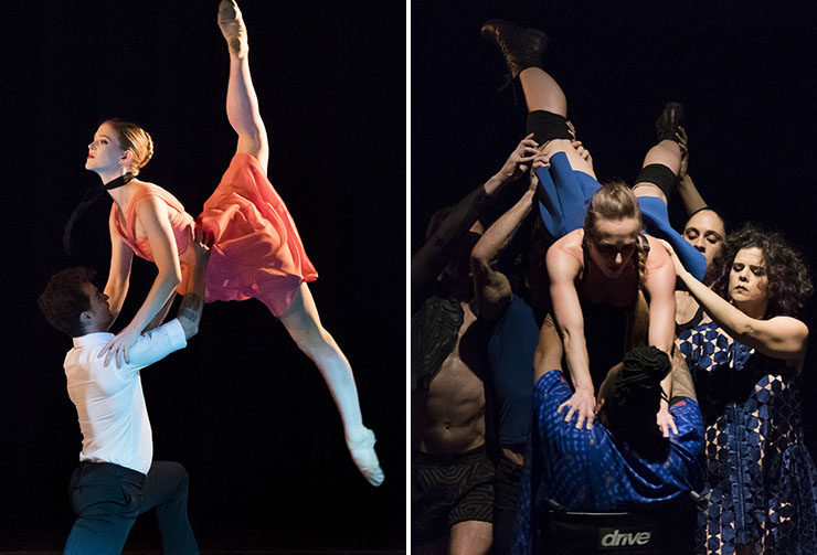 LEFT: Dimensions Dance Theatre of Miami | RIGHT: Pioneer Winter Collective - photos by Mitchell Zachs