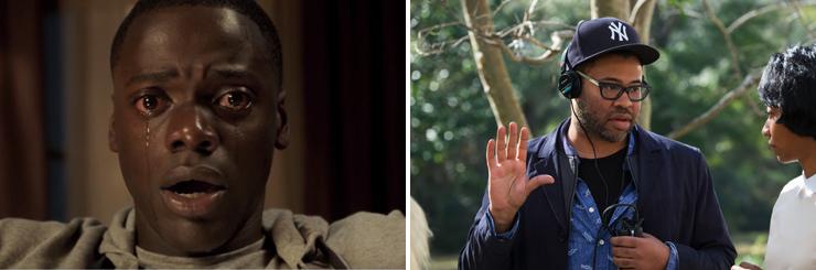 LEFT: Daniel Kaluuya. RIGHT: Jordan Peele, Betty Gabriel.