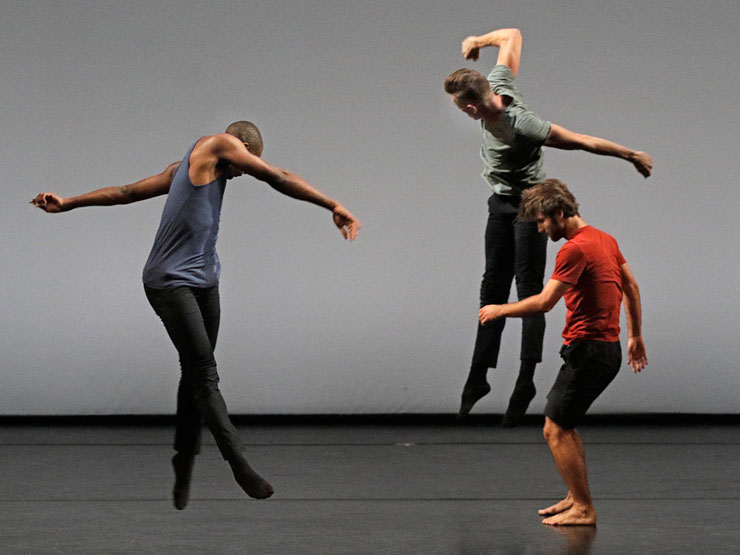 "David Adrian Freeland Jr., Nathan Makolandra, and Aaron Carr dance Noé Soulier's ""Second Quartet,"" which will be presented by LA Dance Project at the Arsht Center on Friday."
