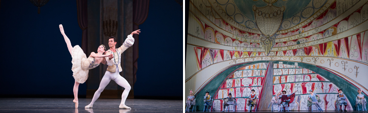 LEFT: Jennifer Lauren and Kleber Rebello in Theme and Variations. Choreography by George Balanchine. The George Balanchine Trust. <br> RIGHT: Miami City Ballet dancers in The Concert. Choreography by Jerome Robbins. <br>Photo by Alexander Iziliaev.