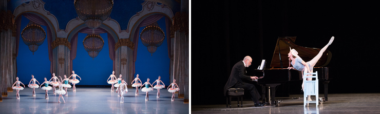 LEFT: MCB_Miami City Ballet dancers in Theme and Variations. Choreography by George Balanchine. The George Balanchine Trust. <br> RIGHT: MCB_Tricia Albertson and Francisco Renn in The Concert. Choreography by Jerome Robbins. <br>Photo by Alexander Iziliaev.