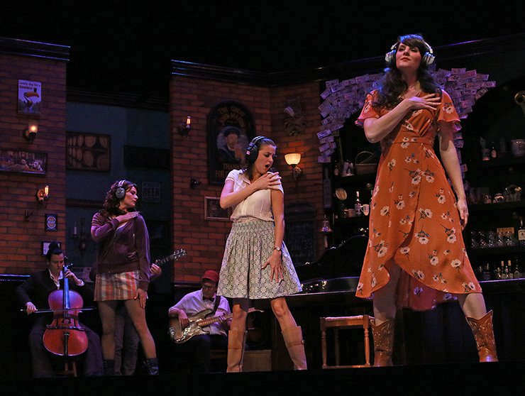 """Andreina """"Nina"""" Kasper, Anna Lise Jensen, Stephen G. Anthony, Elizabeth Nestlerode and Margaret Dudasik in ONCE at Actors' Playhouse at the Miracle Theatre. Photo by Alberto Romeu."""
