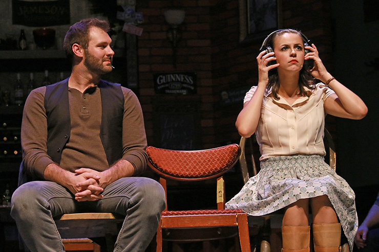 Ben Hope and Elizabeth Nestlerode star in ONCE at Actors' Playhouse at the Miracle Theatre. Photo by Alberto Romeu.