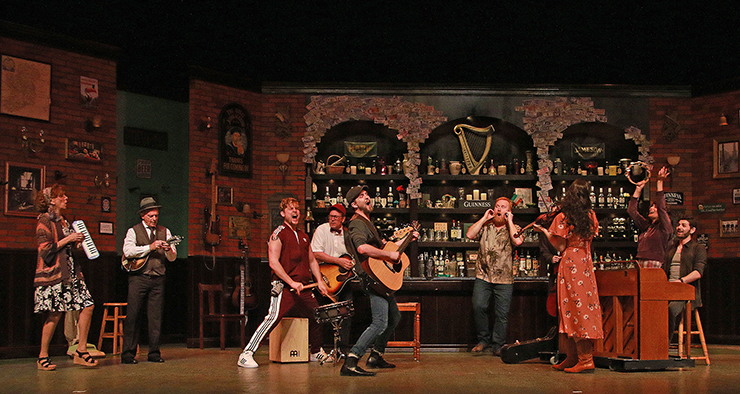 The cast of ONCE at Actors' Playhouse at the Miracle Theatre. Photo by Alberto Romeu.