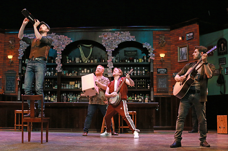 Ryan McCurdy, Chris Blisset, Cody Craven and Michael Friedman in ONCE at Actors' Playhouse at the Miracle Theatre. Photo by Alberto Romeu.