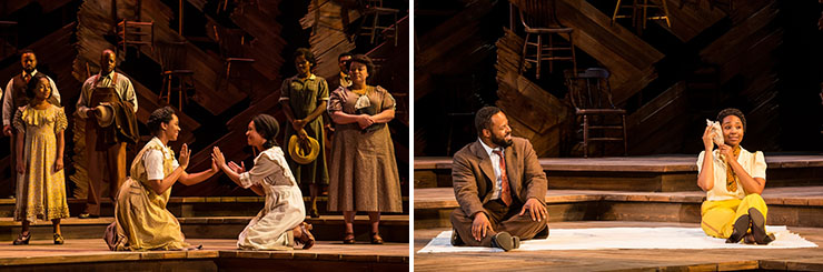 LEFT: Adrianna Hicks (Celie) and N'Jameh Camara (Nettie) and the North American tour cast of THE COLOR PURPLE. | RIGHT: Gavin Gregory (Mister) and Adrianna Hicks (Celie) - Photo by Matthew Murphy, 2017.
