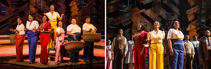LEFT: Adrianna Hicks (Celie) and the North American tour cast of THE COLOR PURPLE | RIGHT: Carla R. Stewart (Shug Avery), Adrianna Hicks (Celie) and Carrie Compere (Sofia)- Photo by Matthew Murphy, 2017.