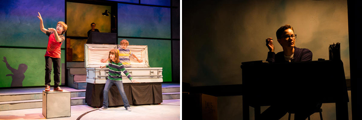 LEFT: Playing in the coffin.